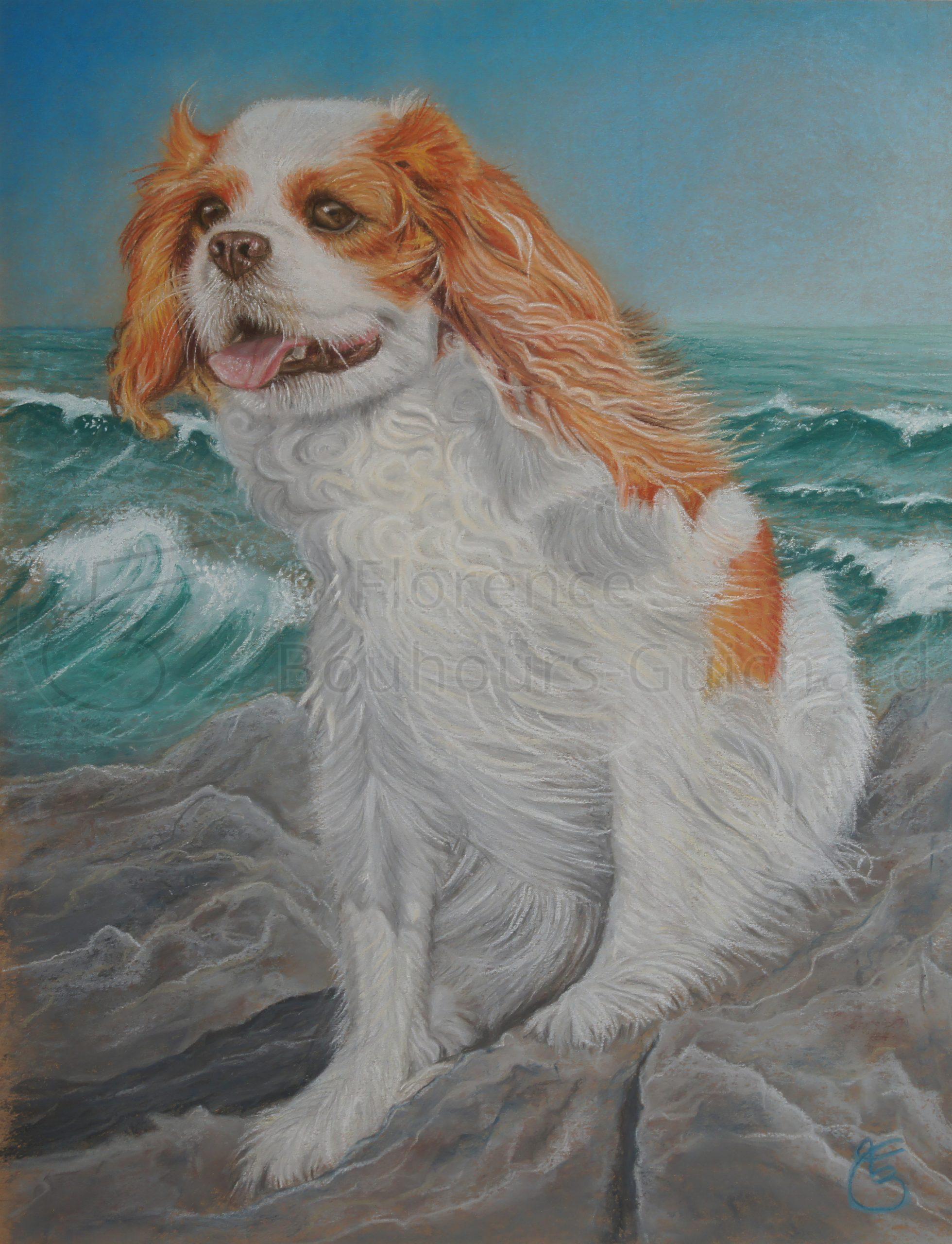 « Beauty à la mer » pastel sur papier – 40X50 cm