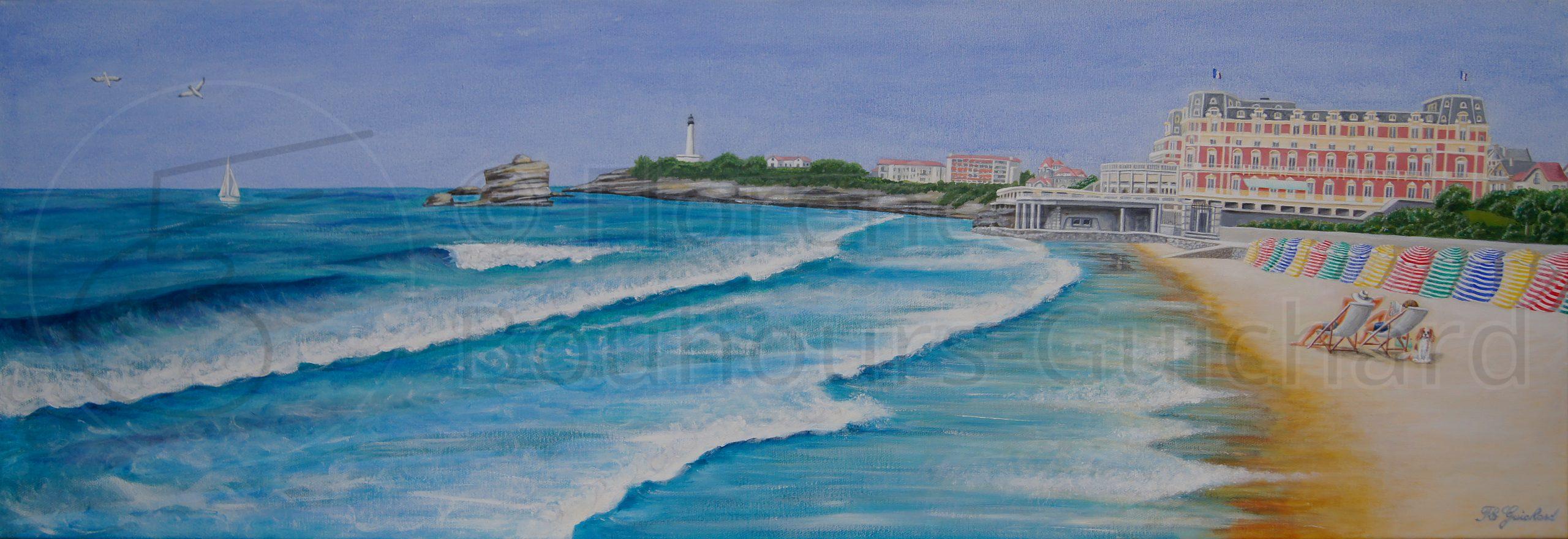 « Biarritz, Grande plage et hôtel du Palais » acrylique sur toile (chassis 3D) – 40X120 cm