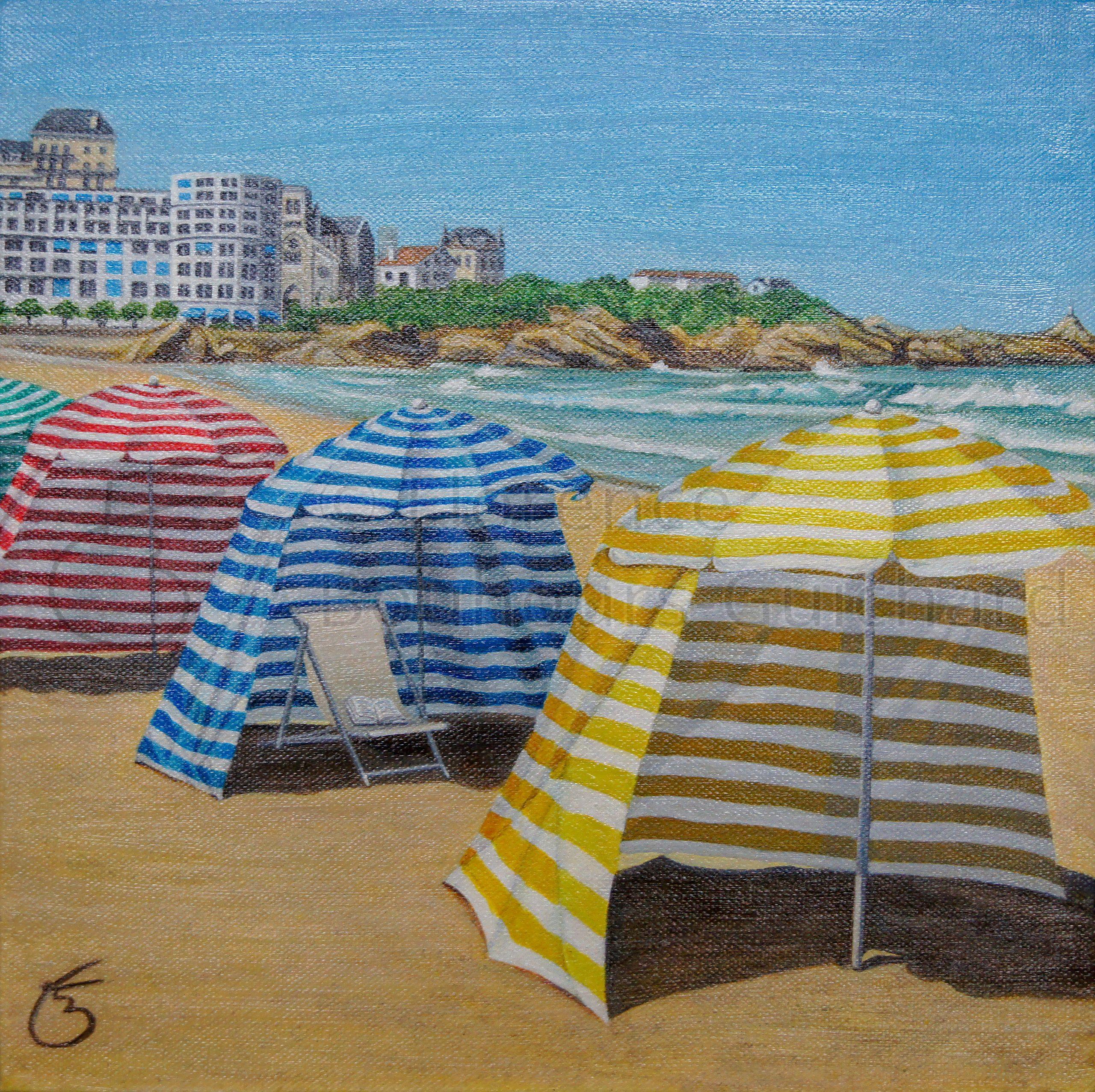« Biarritz, Grande plage, les tentes » acrylique sur toile (chassis 3D) – 30X30 cm