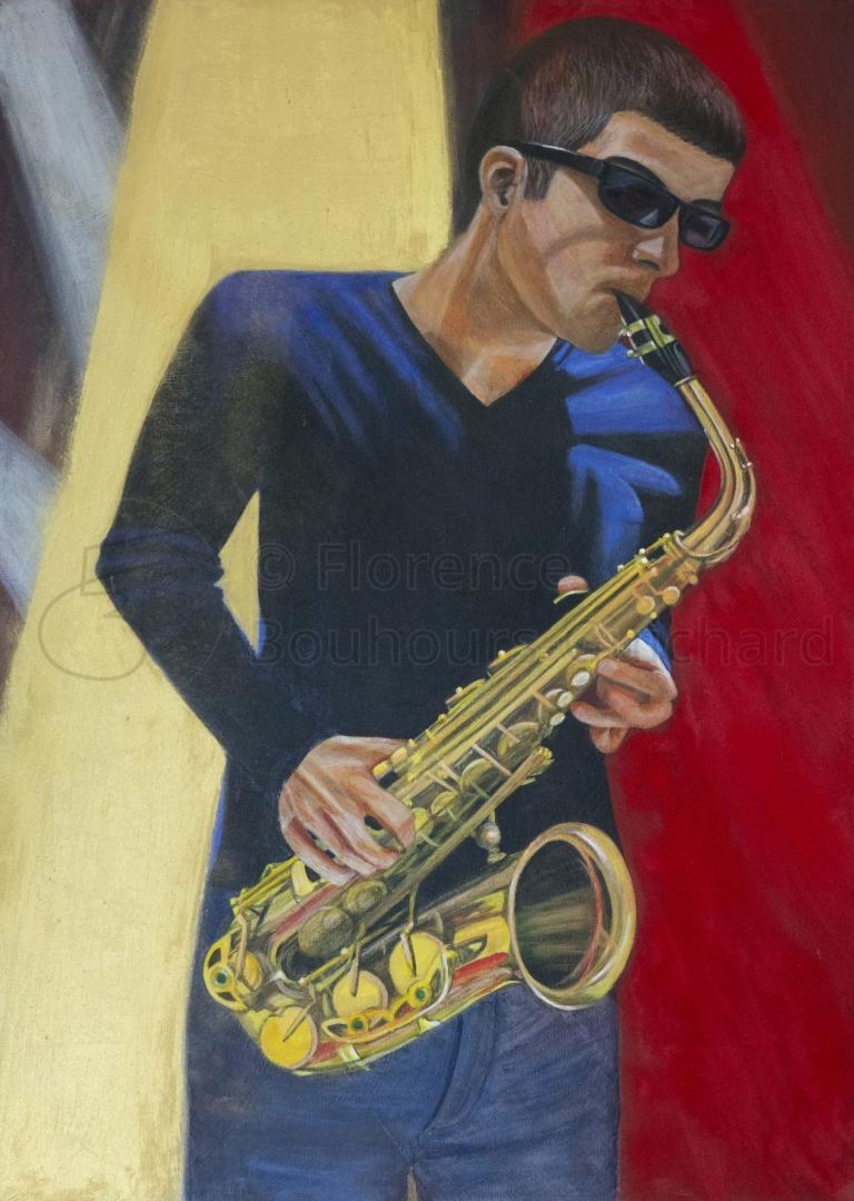 « Blues brother » technique mixte sur toile 50×70 cm