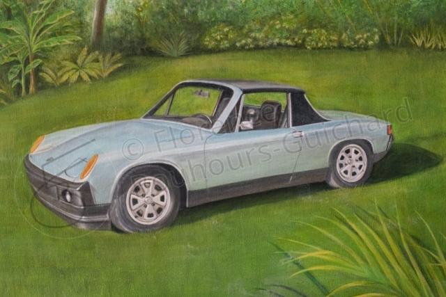 « Montre-moi patte blanche » détail (Porsche 914), acrylique sur toile 50x100 cm