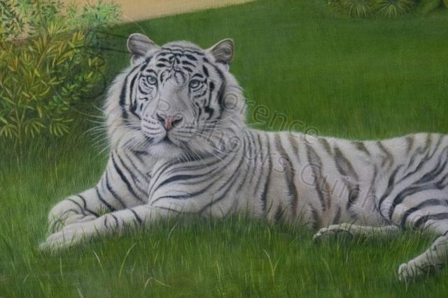 « Montre-moi patte blanche » détail, acrylique sur toile 50x100 cm