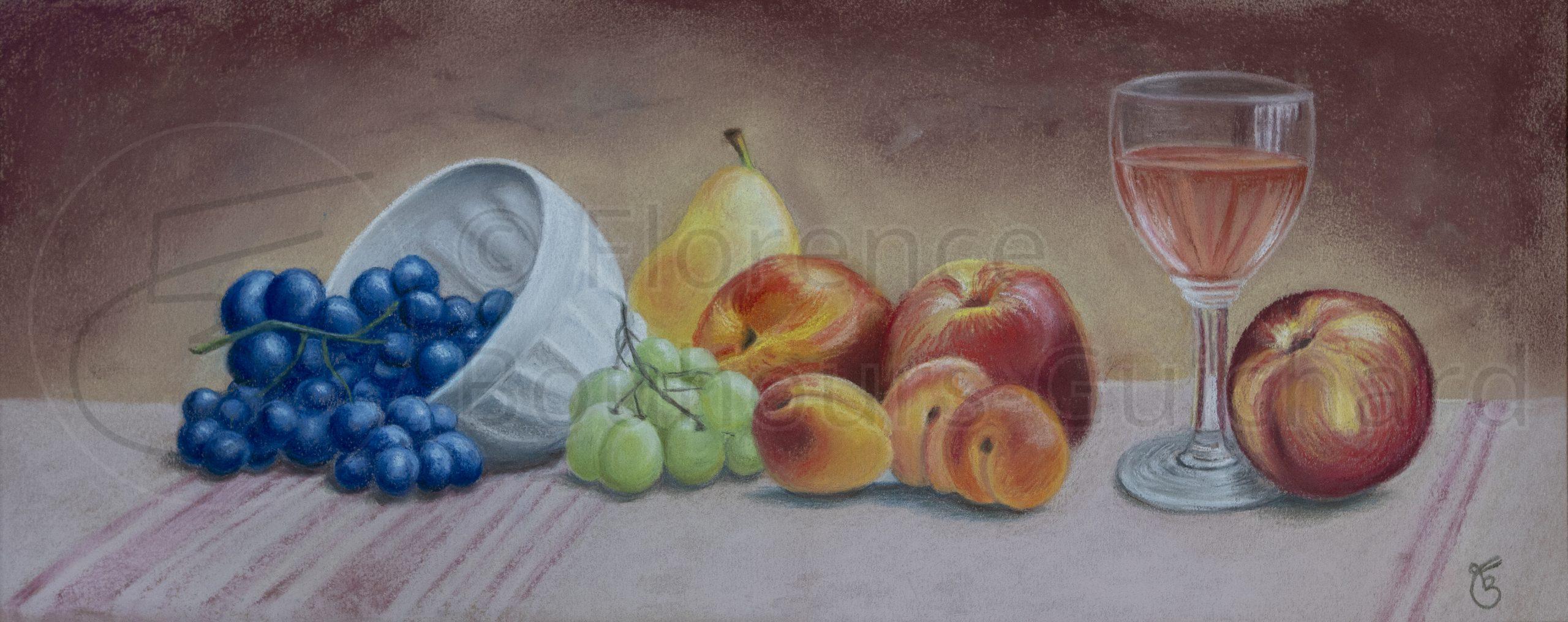 « Fruité » pastel sec sur papier – 30X57 cm
