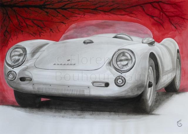 « Icône » Porsche 550 Spyder, encre sur papier – 50X70 cm