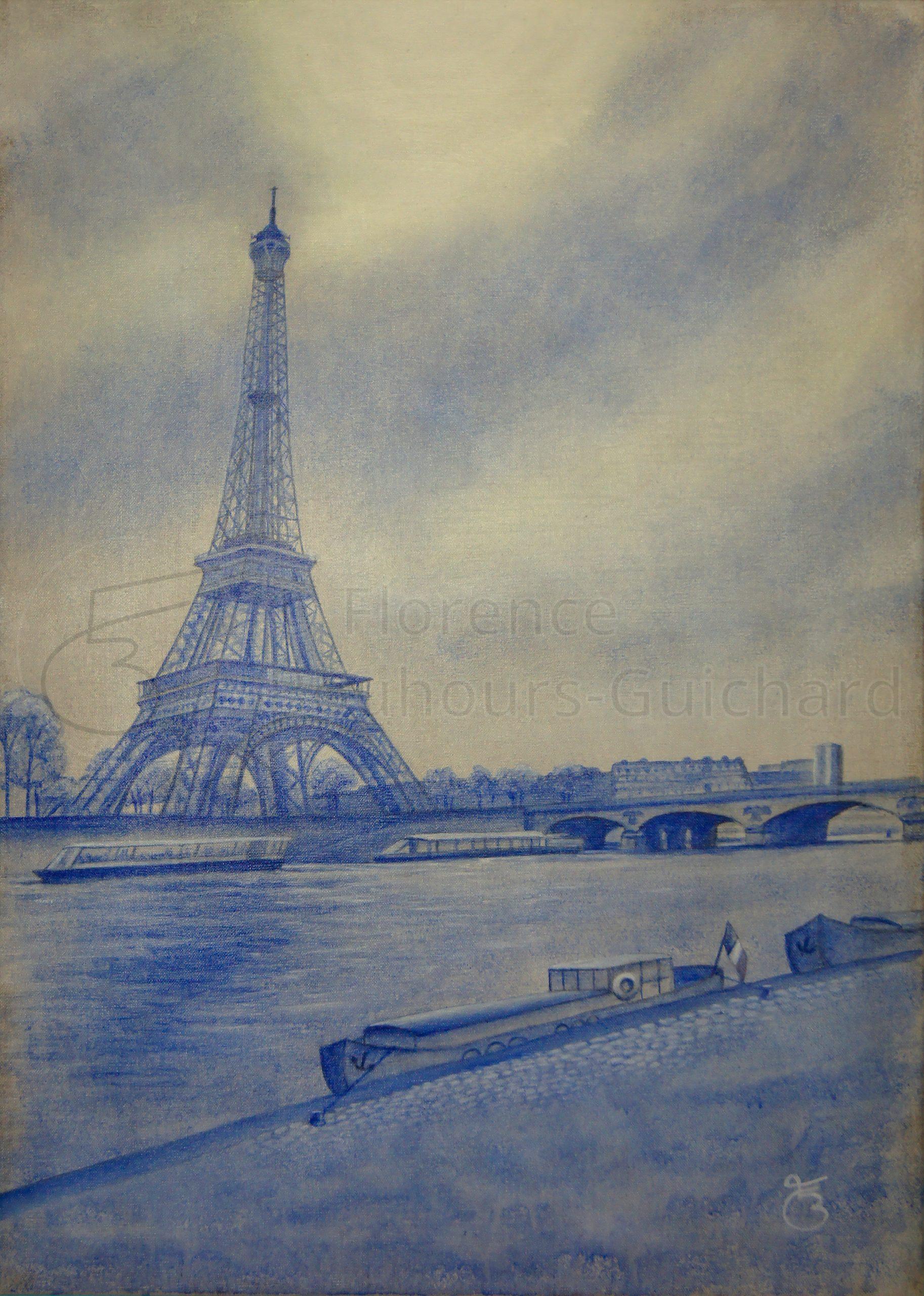 « La Seine et son phare » acrylique sur toile de lin naturelle – 50X70 cm