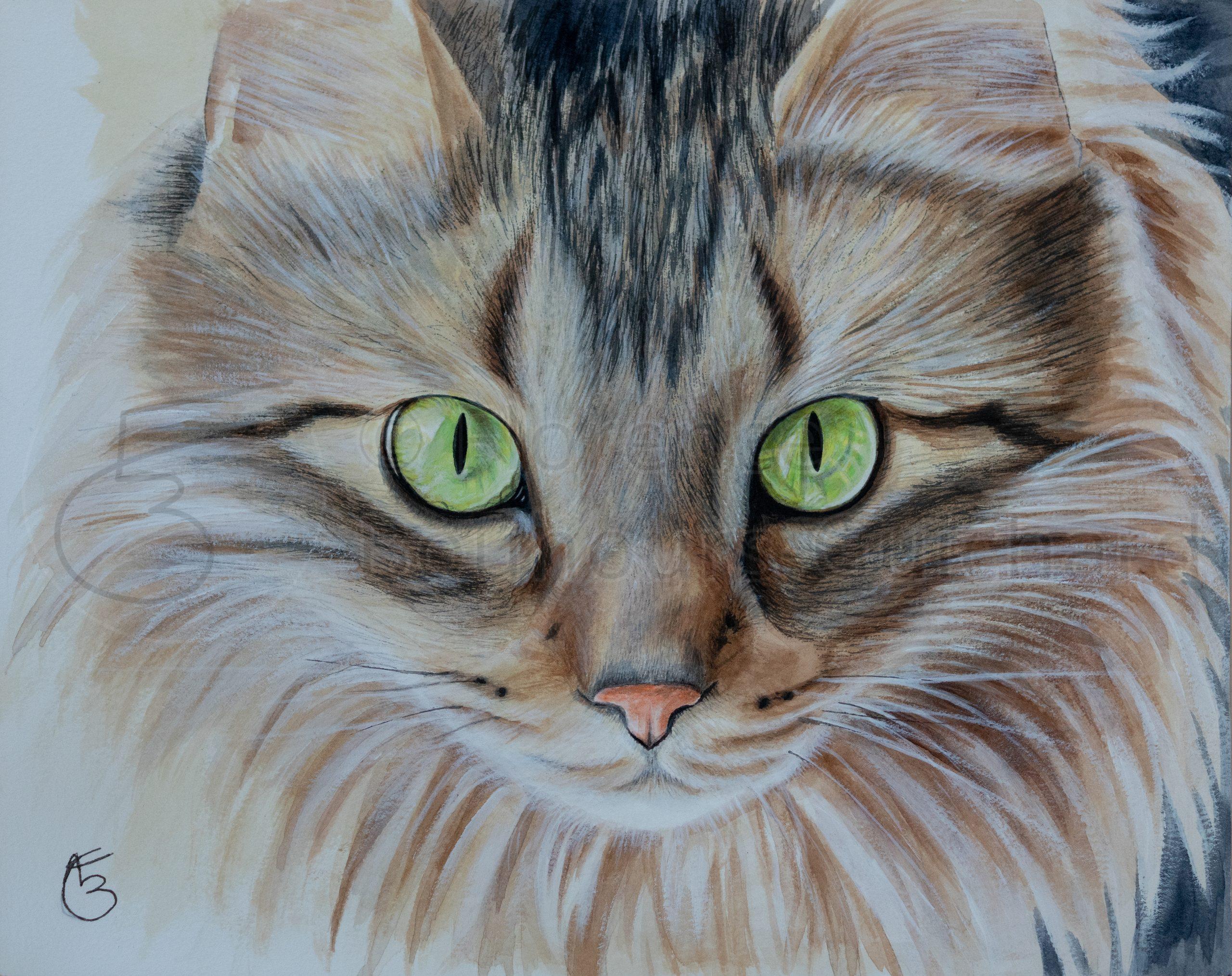 « Lilou, regard bienveillant » acrylique sur papier – 24X30 cm