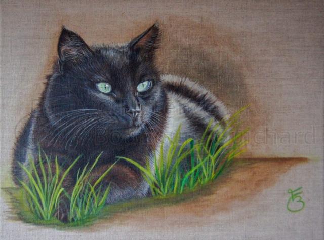 « Loulou sur son territoire » acrylique sur toile de lin naturelle – 30X40 cm