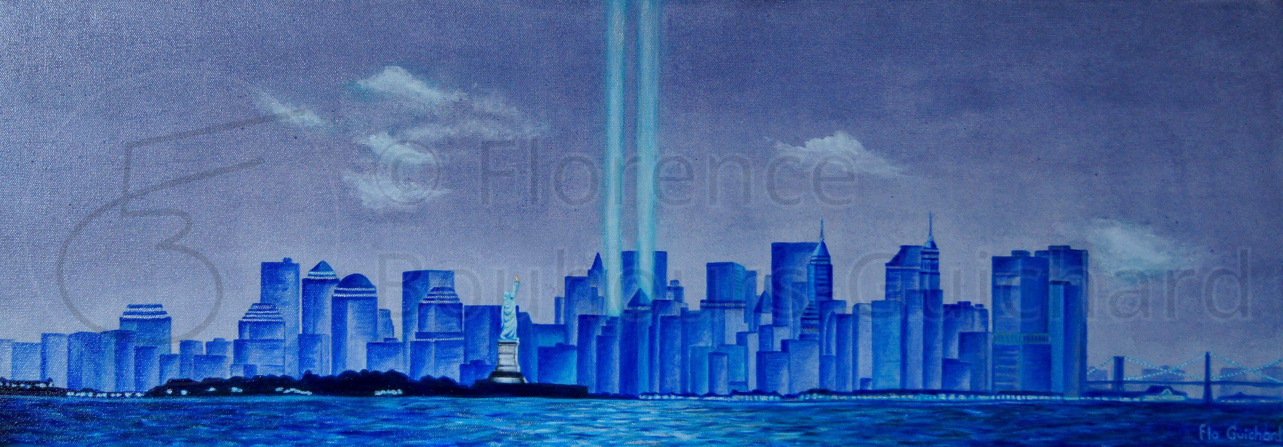 « Manhattan blues » acrylique sur toile – 30X90 cm