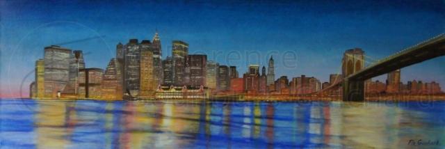 « Manhattan skyline » acrylique sur toile (chassis 3D) – 40X120 cm
