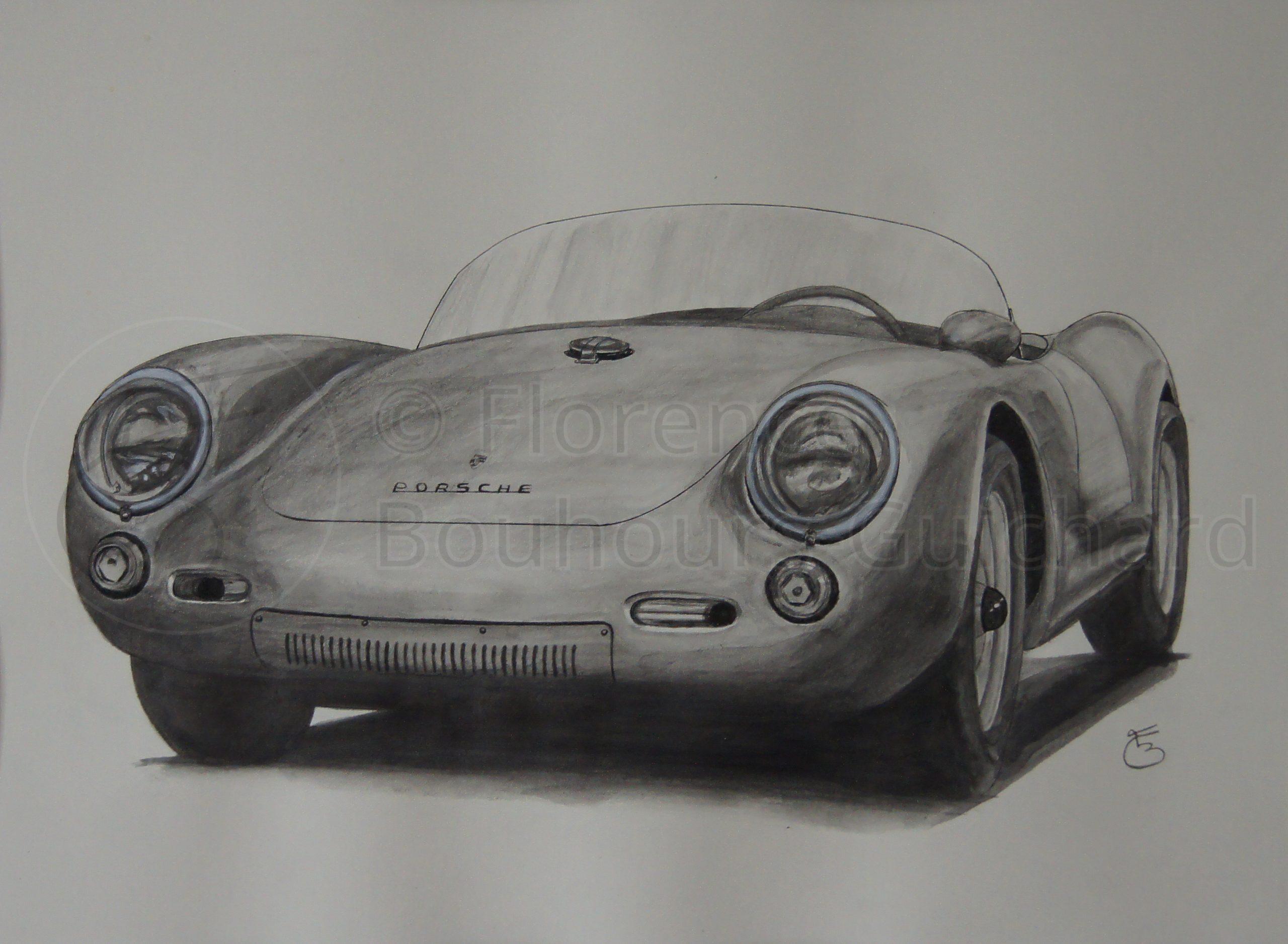 « Porsche 550 Spyder » technique mixte sur papier – 30X40 cm