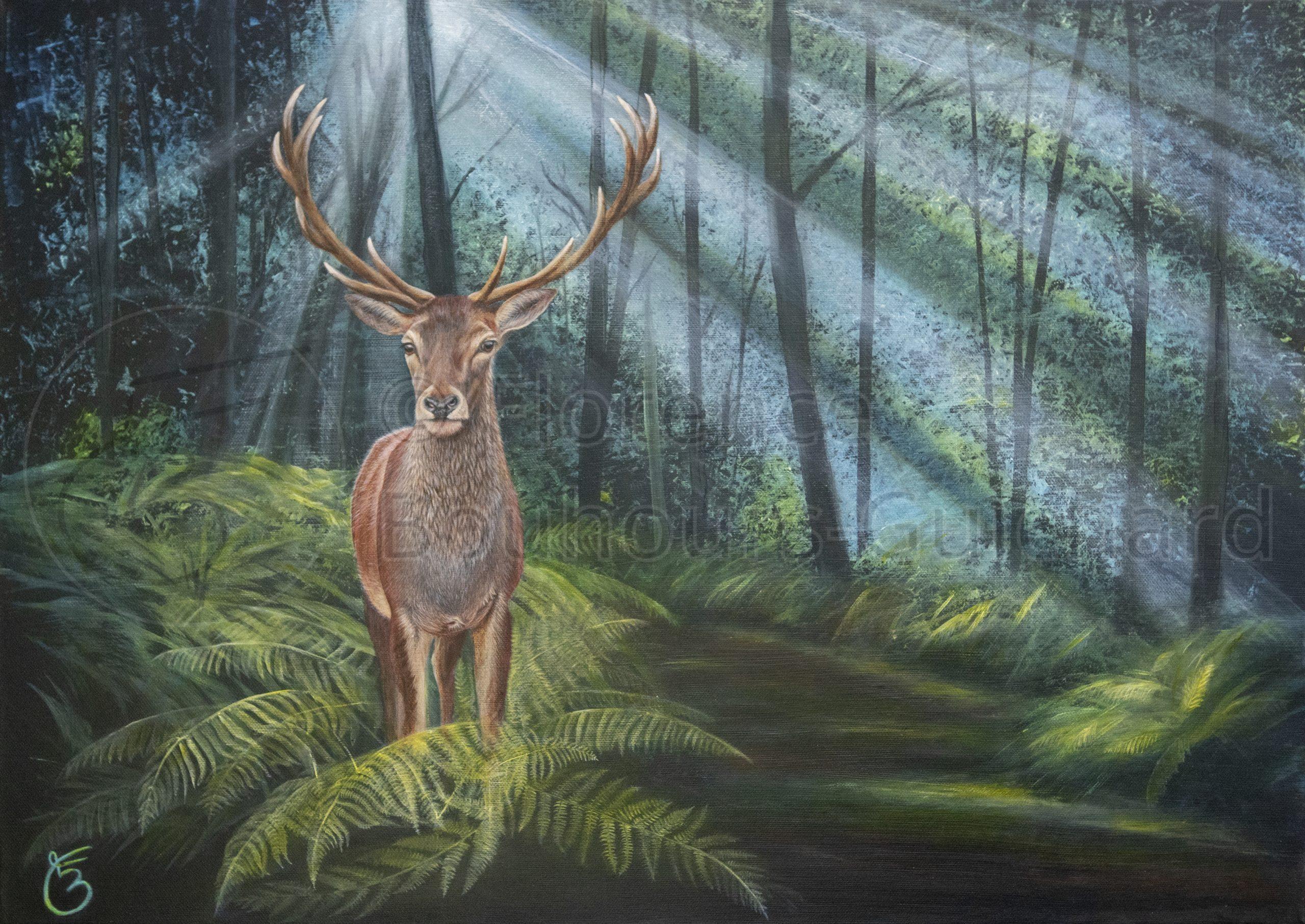 « Rencontre boisée » acrylique sur toile – 50X70 cm
