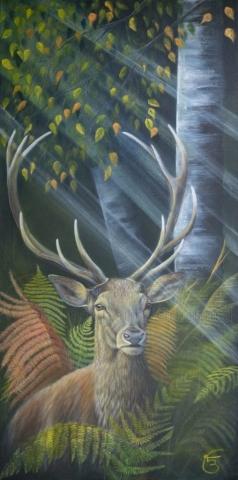 « Seigneur de la forêt » » technique mixte sur toile 50×100 cm